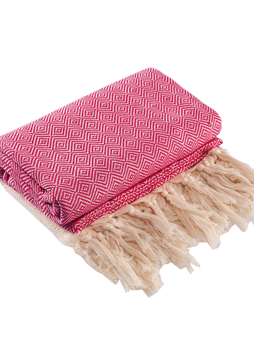 Diamond Peshtemal Towel, Red