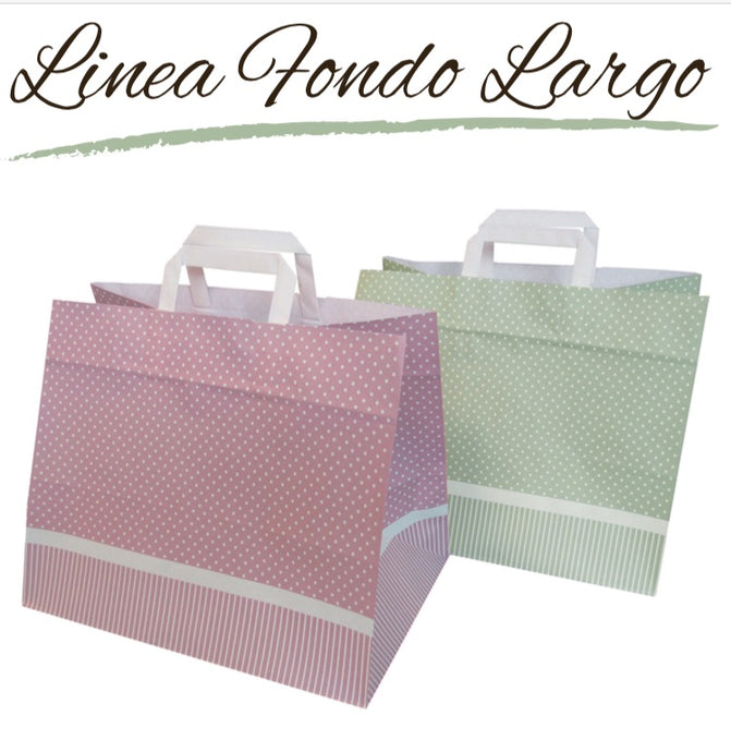 Shopper Carta con Fondo Largo Verde Salvia 32 x 22 x 27 n.50 pz. carta da 100gr.