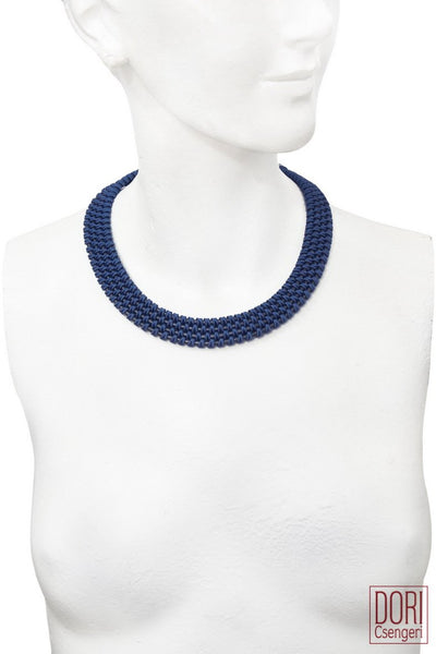 Amelie Trendy Petrol Blue Collar Necklace
