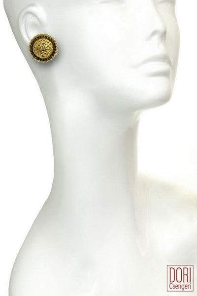 Retro Chic Old Gold Button Earrings