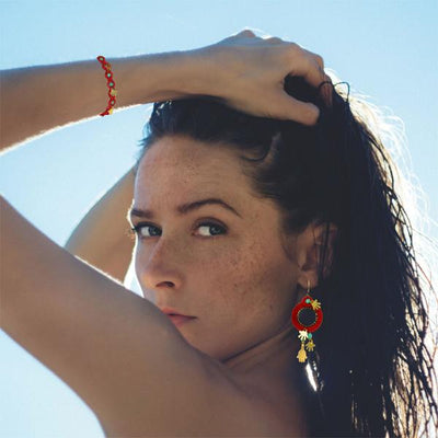Hamsa Red String Hoop Earrings, Golden Hands