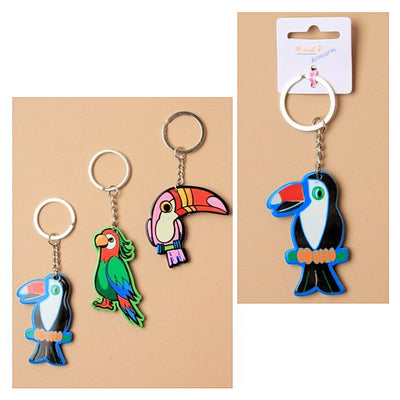 toucan and parrot key ring