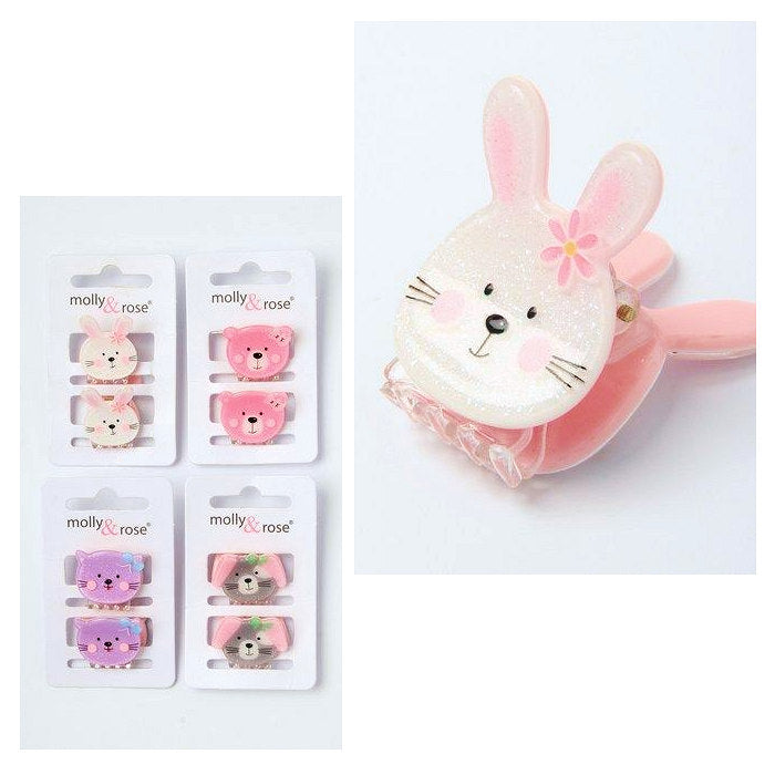 2pc Glitter Acrylic Animal Face Mini Clamps