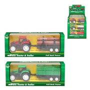Pull-back Action Farm Tractor & Trailer Set