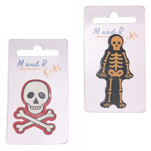 Skeleton and Skull & Crossbones Pin Badges