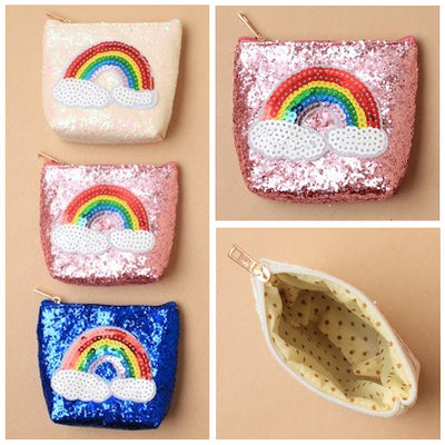 Glitter Zip Purse with Sequin Rainbow