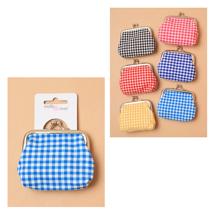 Gingham Check Fabric Coin Purse