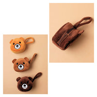 Soft Fabric Teddy Bear Face Purse with Wrist Strap