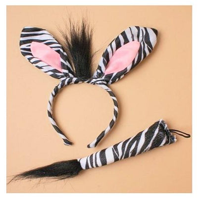 Zebra Ear Head Band & Tail Set