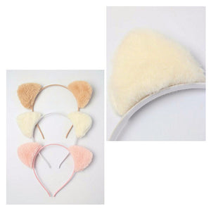Faux fur fabric cat ears Aliceband