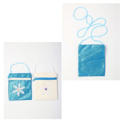 Frozen Snowflake Glitter Purse with Long Cord Shoulder Strap