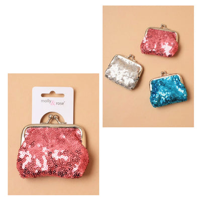 Metallic Sequin Fabric Coin Purse with Ball Snap Clasp