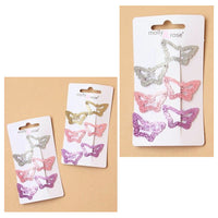 6pc Glitter Butterfly Hair Clip Set