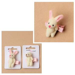 Teddy Bear & Bunny Rabbit on Beak Clip