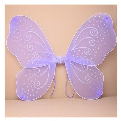 Lilac Net Fairy Wings with White Glitter Swirls