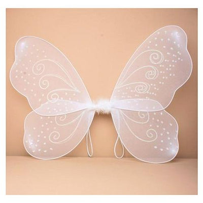 White Net Fairy Wings with White Glitter Swirls