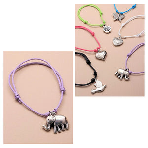 Coloured Corded Bracelet with Charm