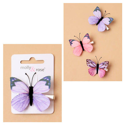 Delicate Fabric Butterfly on a Beak Clip