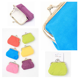 Bright Plain Fabric Purse with Ball Clasp