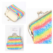 Rainbow Sequin Glitter Purse with Ball Clasp