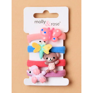 4pc Animal Motif Jersey Hair Elastics