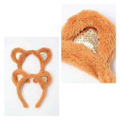 Brown Furry Fabric Teddy Bear Ears Glitter Aliceband