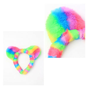 Rainbow Coloured Fur Teddy Bear Ears Aliceband