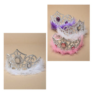 Silver Plastic Tiara with Feather Trim