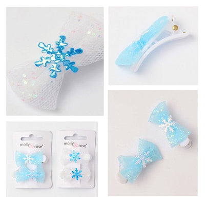 2pc Blue Frozen Snowflake Glitter Bow Clips