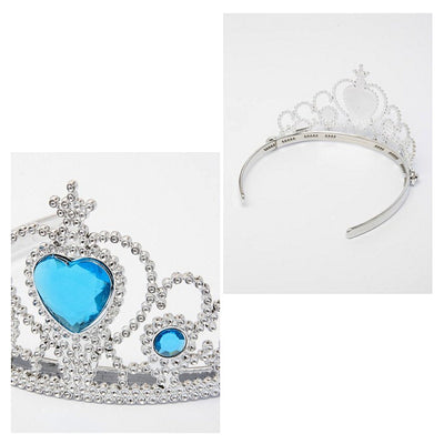Tiara with Frozen Ice Blue Centre Coloured Heart Stone