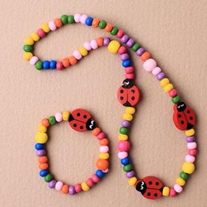 Wooden Ladybird Necklace & Bracelet Set (12)