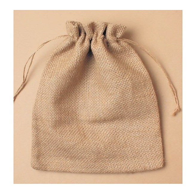 Natural Hessian sack cloth drawstring gift bag