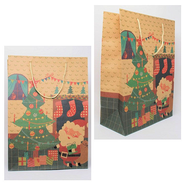 Natural kraft Paper Christmas Tree & Santa Gift Bag [Large]