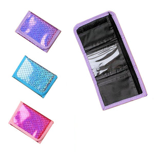 Shiny Holographic Print Tri-fold Wallets