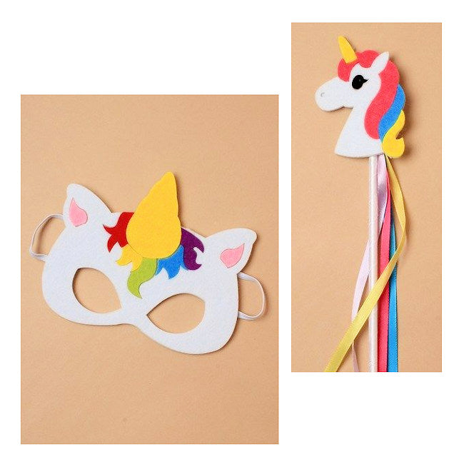 Children's Felt Unicorn Mask And Wand Dress-up Set