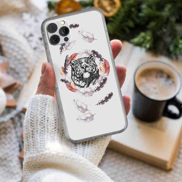 Tiger in a Feathers Frame iPhone Case