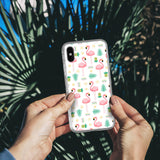 Floral Print Flamingo iPhone Case