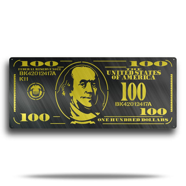 Hundred Dollar Bill Metal Wall Art