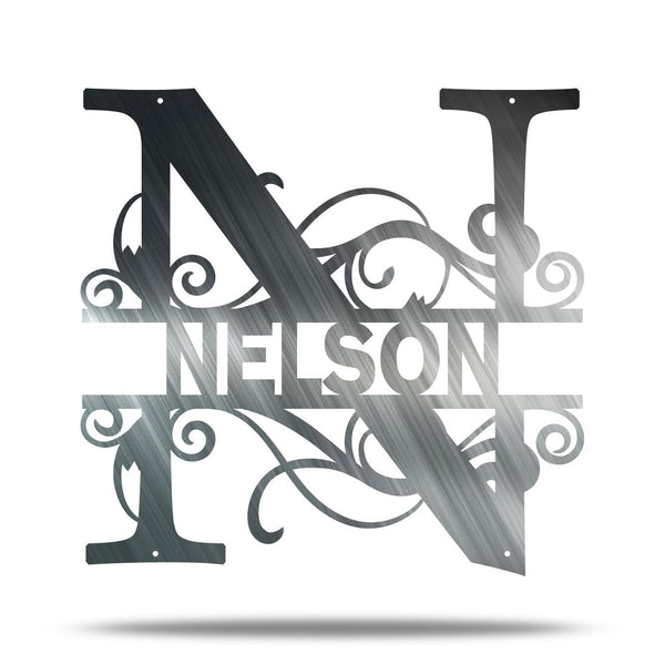 Scroll Initial & Name Personalizable Steel Wall Art