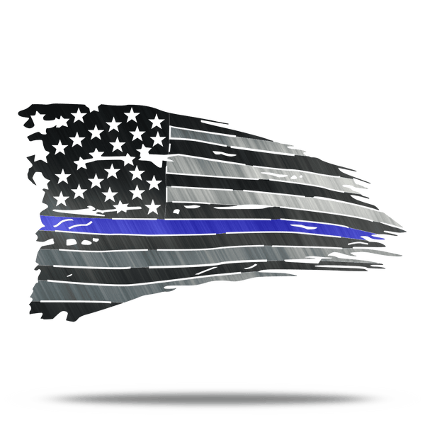 CUSTOMIZABLE Distressed Thin Blue Line Leo Metal Wall Art Battle Flag