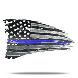 Distressed Thin Blue Line Leo Metal Wall Art Battle Flag