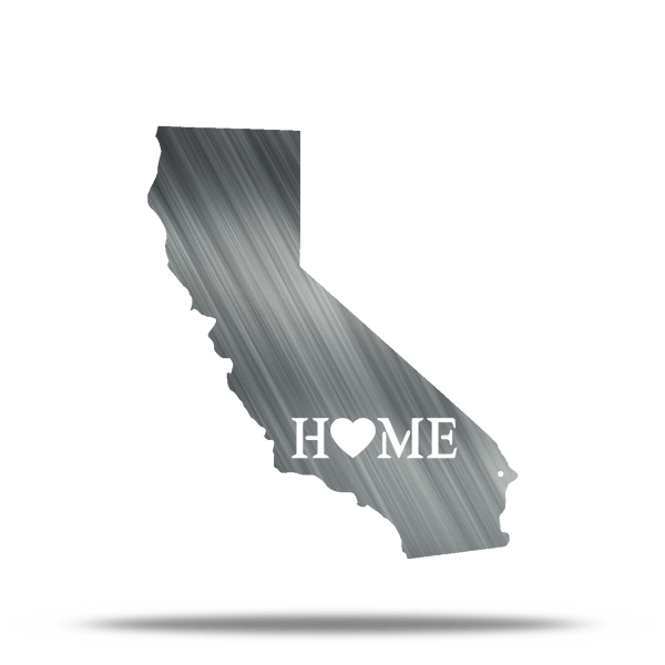 (Pick Your State) State cut out Home Heart Metal Wall Sign