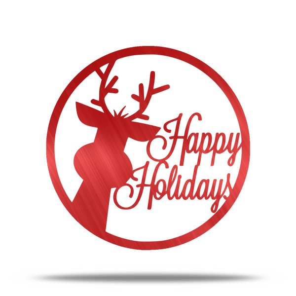 Happy Holidays Reindeer Steel Wall Sign