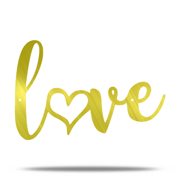 Love Heart Text Metal Wall Sign