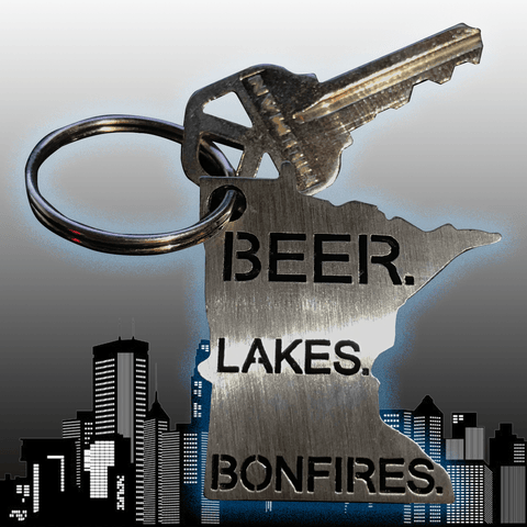 Minnesota Key Chain / Beer. Lakes. Bonfires.