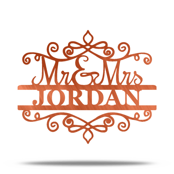 Mr & Mrs Scroll Personalizable Metal Wall Art