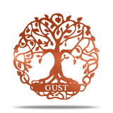 Tree Of Life Metal Wall Sign - FREE Custom Name Engraving