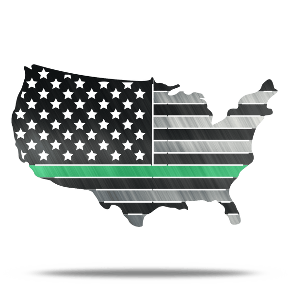 USA Metal Green Line Conus Flag Military Metal Wall Art
