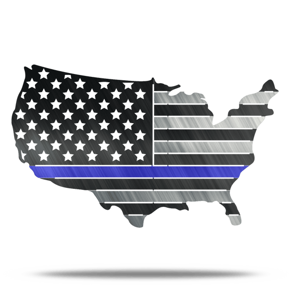 USA Metal Thin Blue Line Conus Flag LEO Metal Wall Art