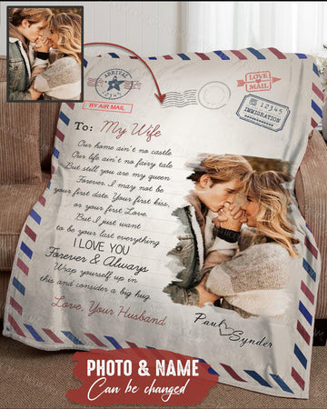 BENICEE Top 5 Gift For Wife Custom Names & Photos Blanket - Love Letter-Blankets-Benicee